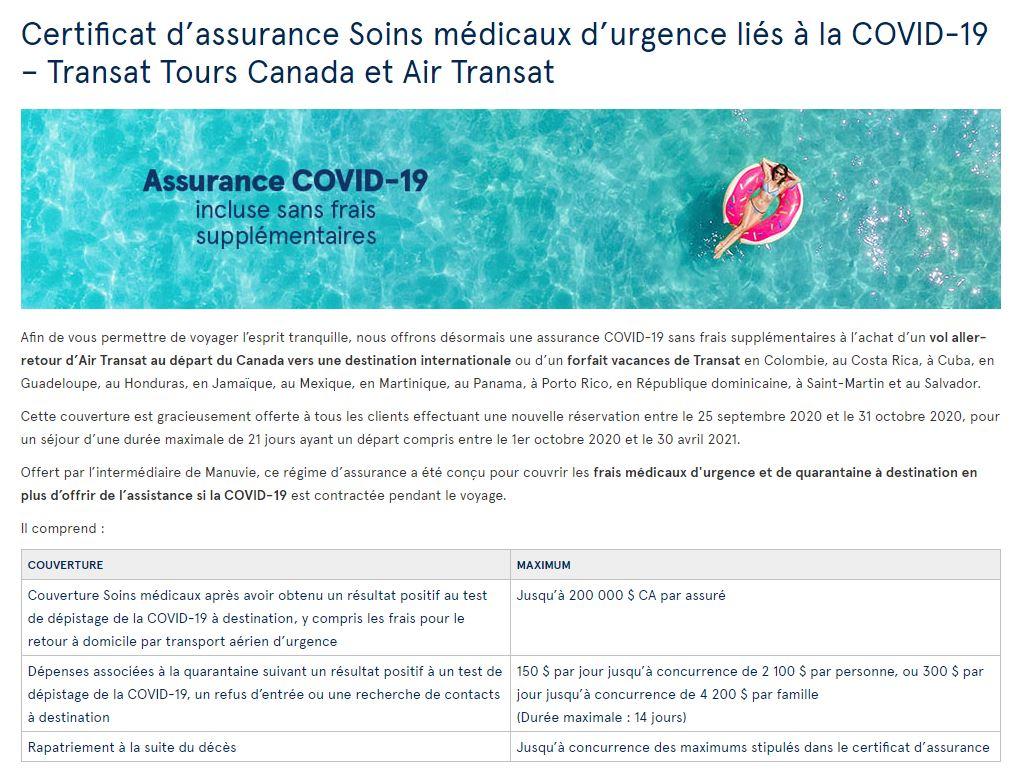 Transat assurance COVID-19