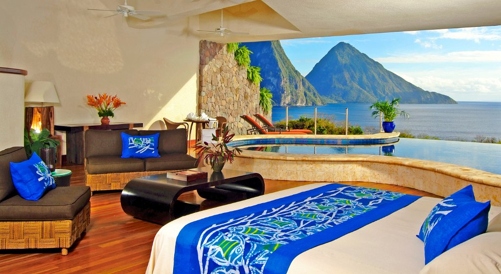 Les piscines swim-up du Jade Mountain Resort