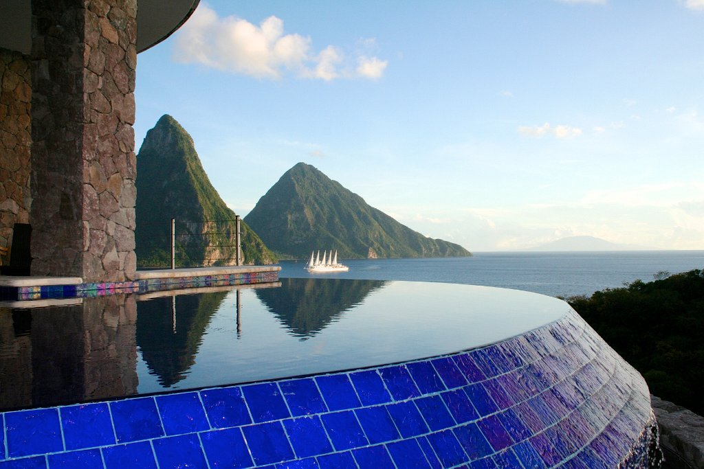 Les piscines du Jade Mountain Resort