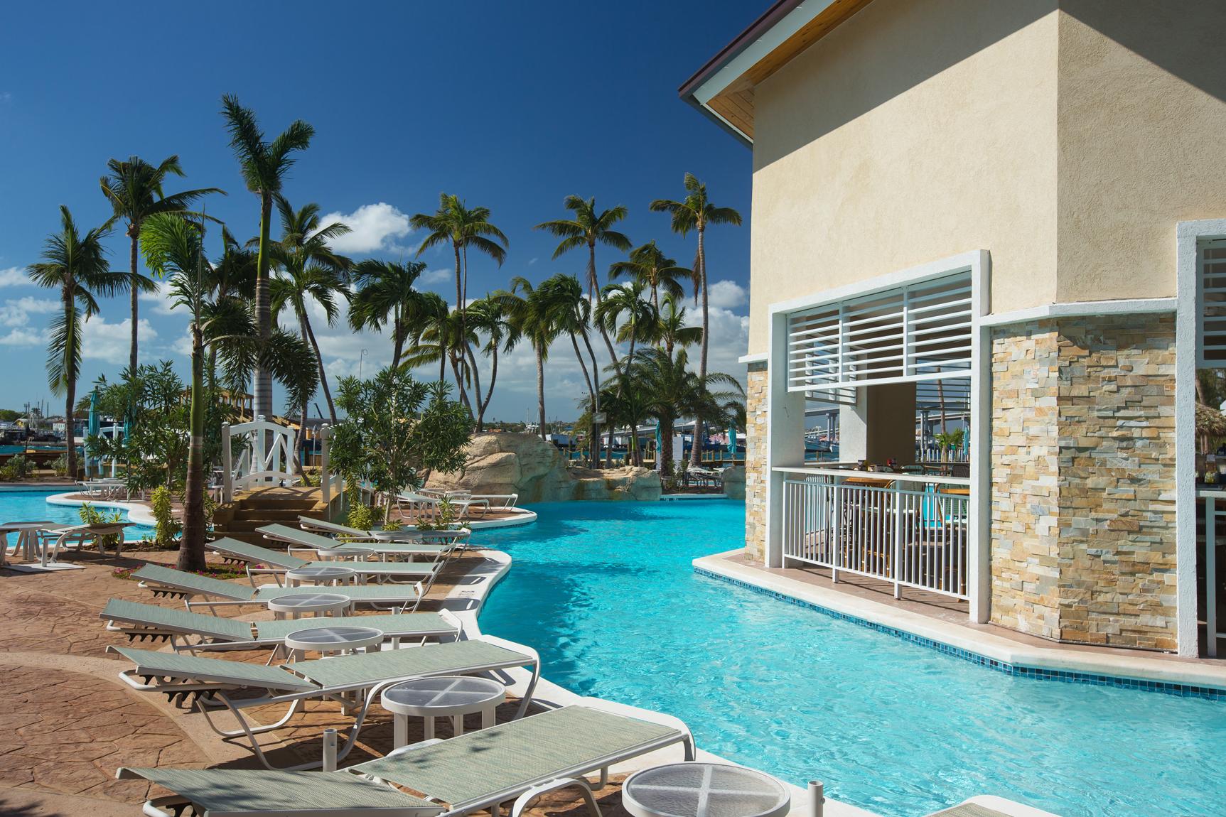 Warwick Paradise Island Bahamas Pool Deck with Chickcharnies